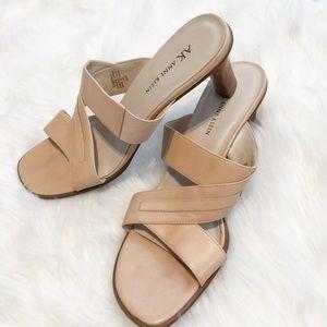 Ann Klein Camel Tan Slip On Heels Sz 8